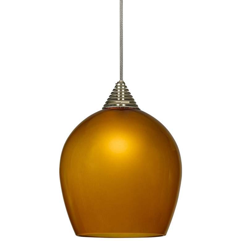 "Caramel Sphere 3 1/2"" Wide Brushed Steel LED Mini Pendant"