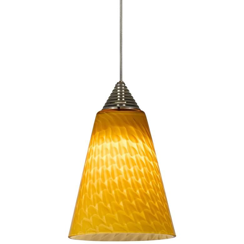 "Warm Yellow Glass 5"" Wide Brushed Steel LED Mini Pendant"