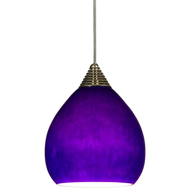 "Royal Blue Teardrop 3 3/4""W Brushed Steel LED Mini Pendant"