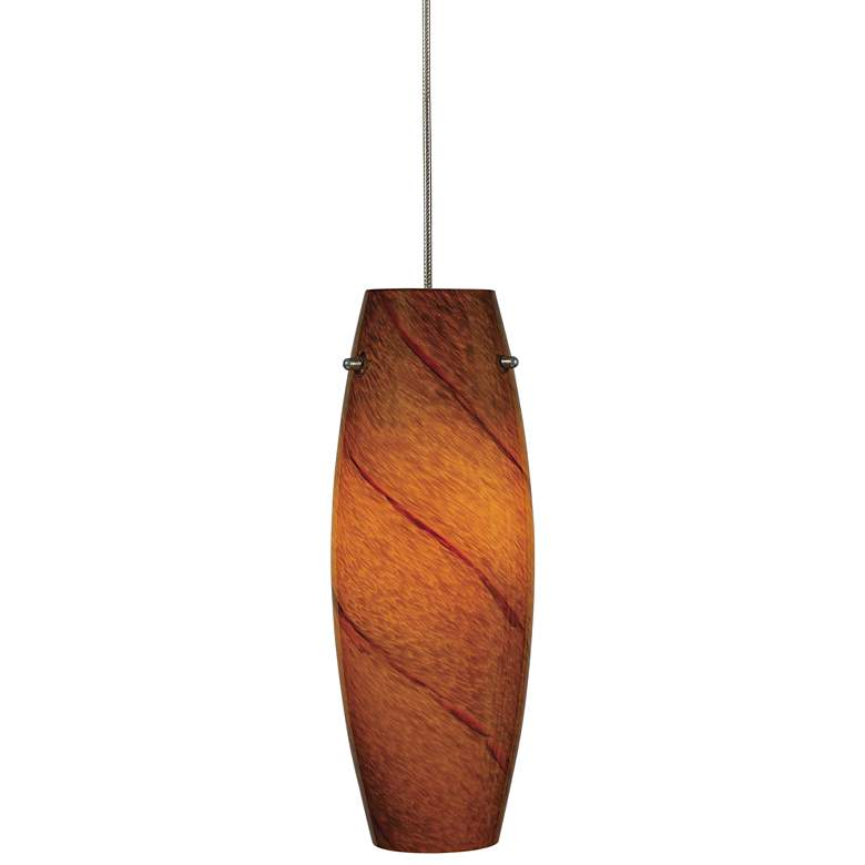 "Amber Swirl 3 1/4""W Brushed Steel Low Voltage Mini Pendant"