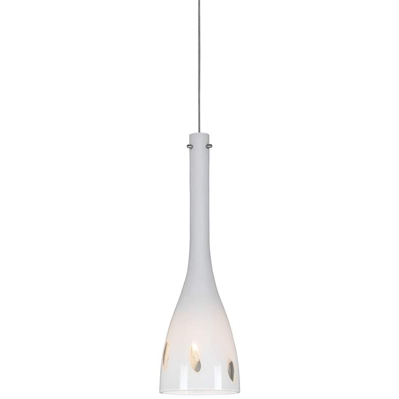 "White Glass 4 1/4""W Brushed Steel Low Voltage Mini Pendant"