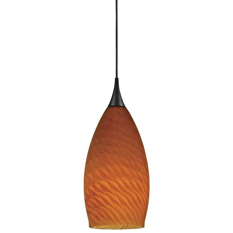 "Light Amber 3 1/2"" Wide Dark Bronze Low Voltage Mini Pendant"