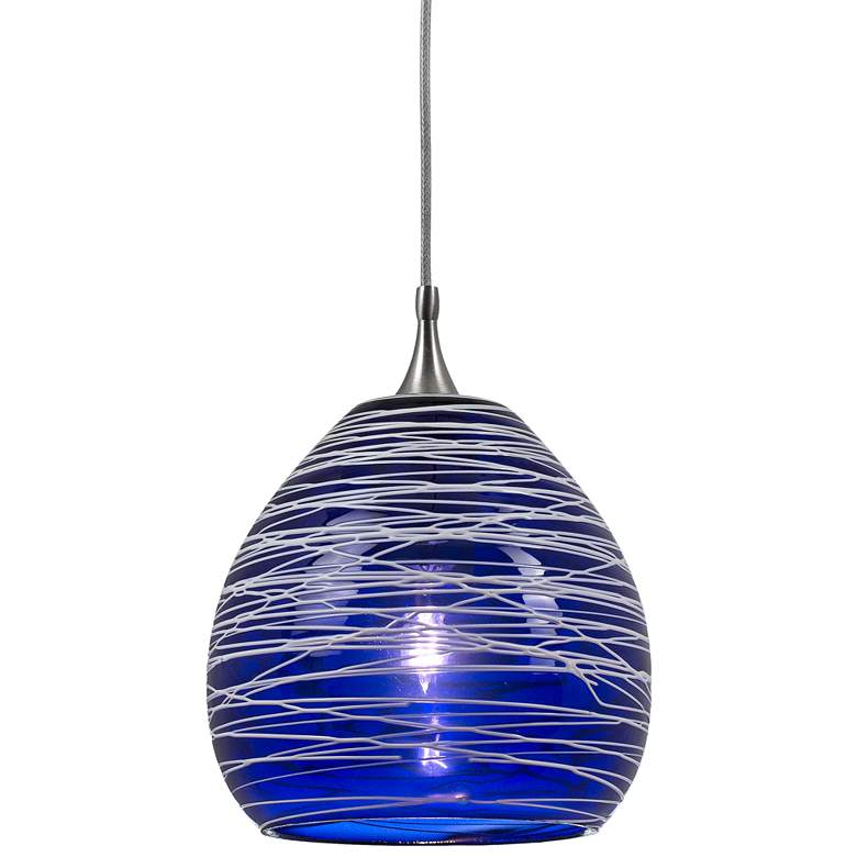 """Blue Glass 4 3/4""""W Brushed Steel Low Voltage Mini Pendant"""