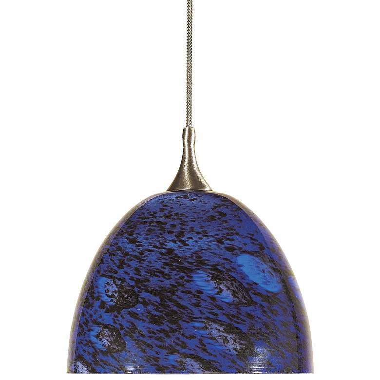 "Blue Black Glass 5""W Brushed Steel Low Voltage Mini Pendant"