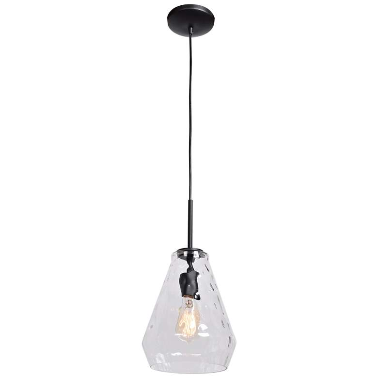 "Simplicite 9"" Wide Black and Glass LED Mini Pendant"