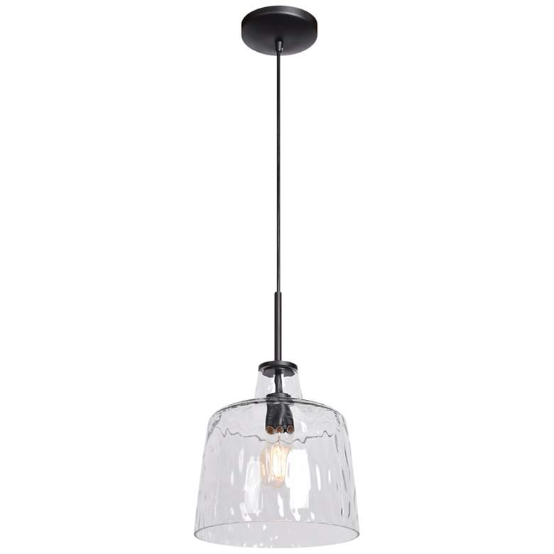 "Simplicite 11"" Wide Black and Glass LED Mini Pendant"