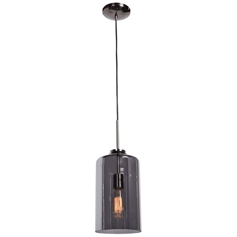 """Simplicite 7"""" Wide Black Nickel and Glass LED Mini Pendant"""