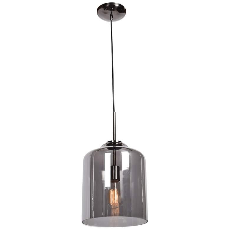 "Simplicite 9 1/2""W Black Nickel and Glass LED Mini Pendant"
