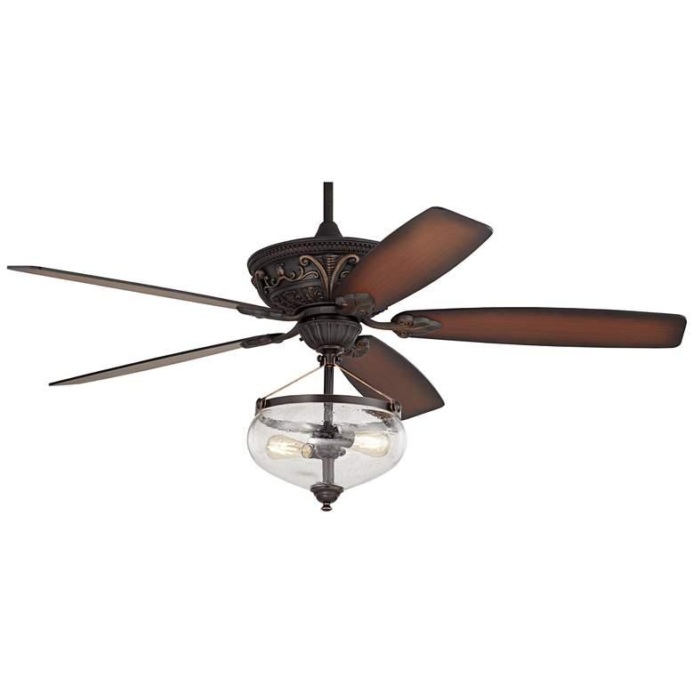 "60"" Casa Montego Shaded Teak and LED Seedy Glass Ceiling Fan"
