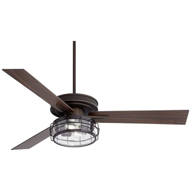 "60"" Taladega Oil-Rubbed Bronze Seedy Glass LED Ceiling Fan"