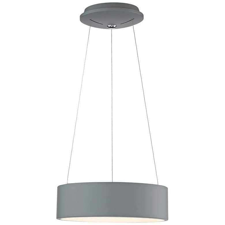 """Radiant 15"""" Wide Gray LED Drum Pendant Light"""