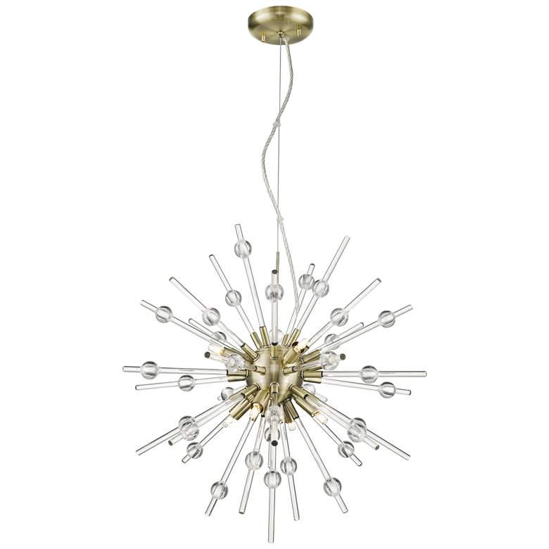"""Burst 21 1/4"""" Wide Antique Bronze LED Sputnik Pendant Light"""