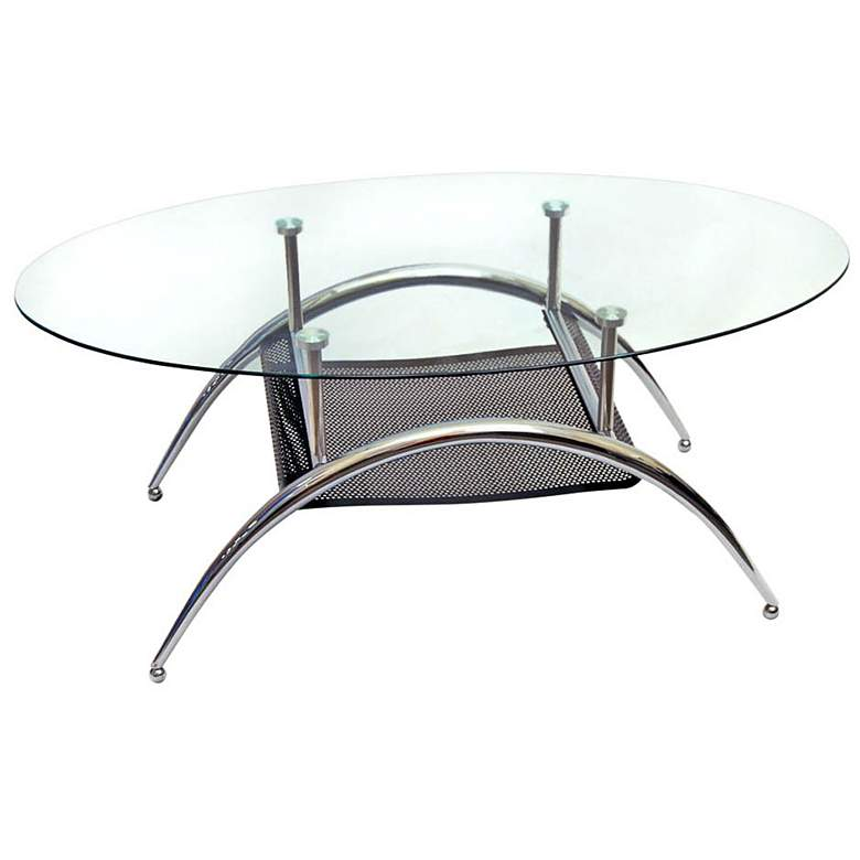 "Vestige 37"" Wide Glass and Black Mesh Modern Coffee Table"