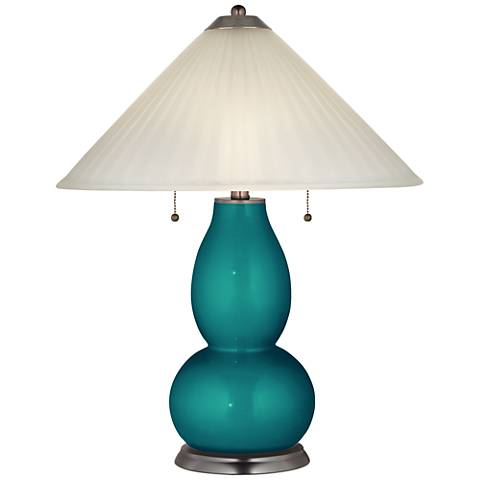 Magic Blue Metallic Fulton Table Lamp with Fluted Glass Shade