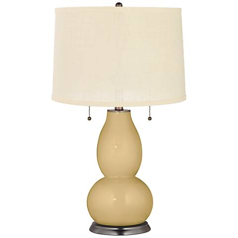 Humble Gold Cream Burlap Fulton Table Lamp