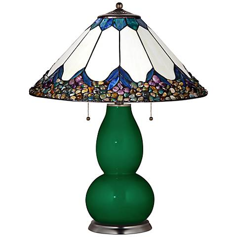 Fulton Table Lamp in Greens with River Stone Shade