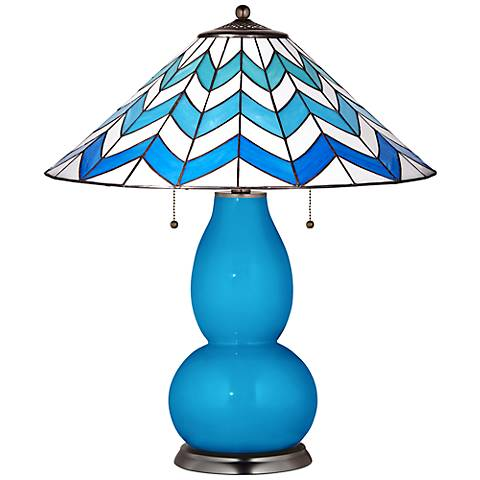 Fulton Table Lamp in River Blue with Cascade Shade