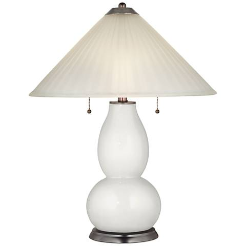 Winter White Fulton Table Lamp with Fluted Glass Shade