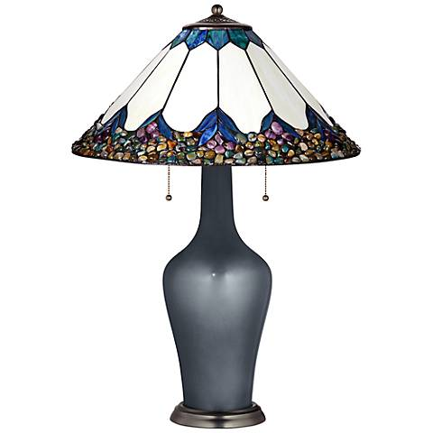 Clara Lamp in Gunmetal Metallic with River Stone Shade