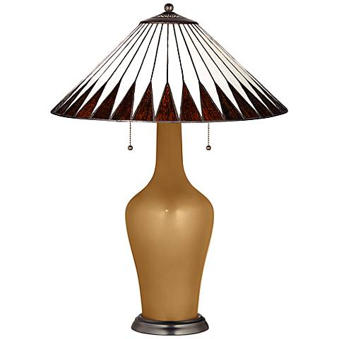 Clara Lamp in Light Bronze Metallic with Feather Shade