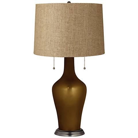 Clara Table Lamp in Bronze Metallic with Tan Woven Shade