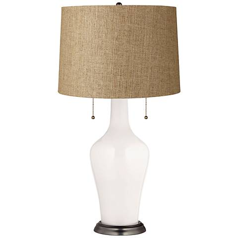 Clara Table Lamp in Smart White with Tan Woven Shade
