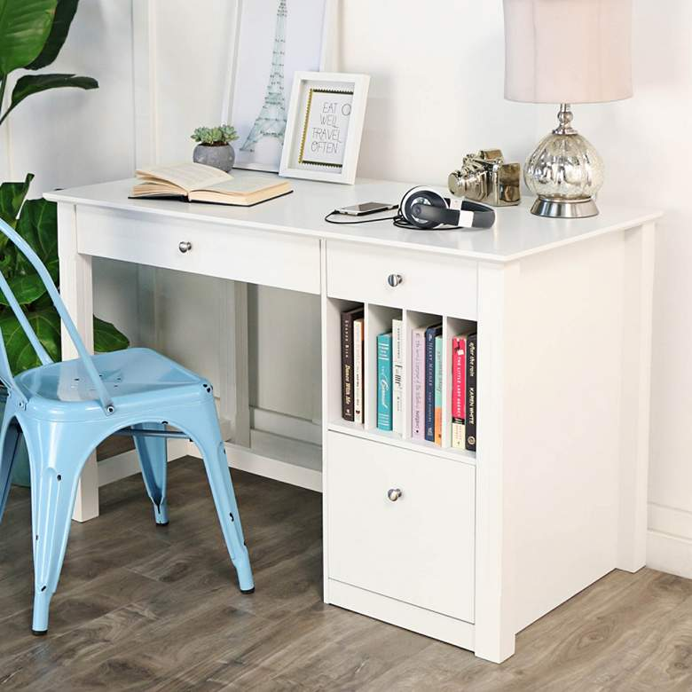 """Deluxe 48"""" Wide White Wood Study Desk"""