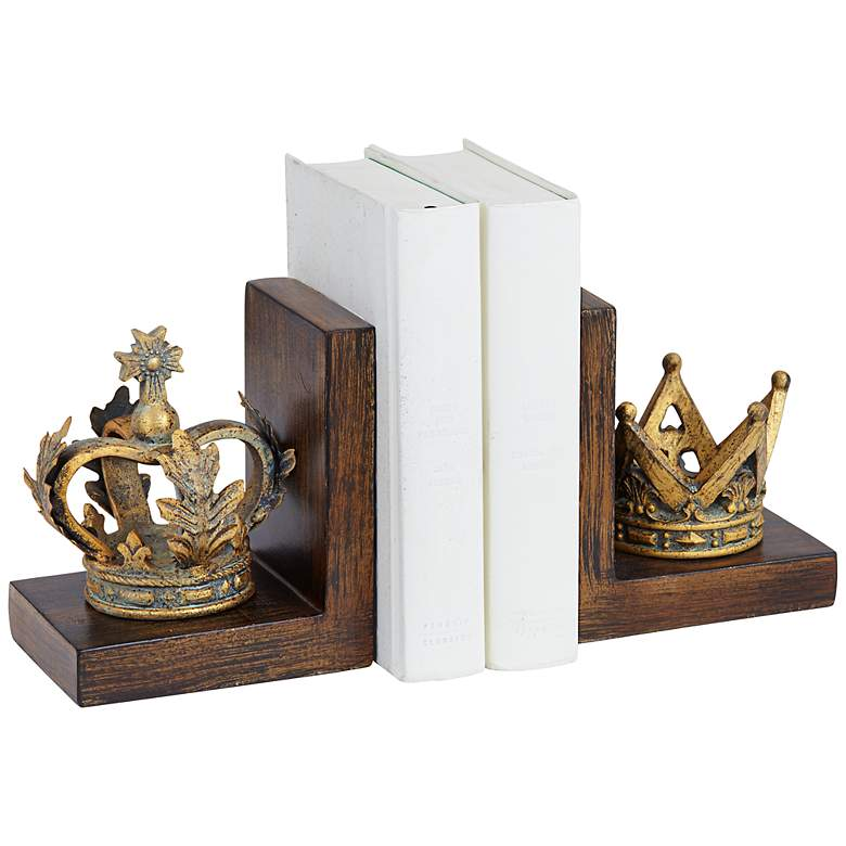 "Golden Crowns 6"" High King and Queen Antique Bookends Set"