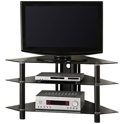 "Bermuda Black Tempered Glass 43"" Corner TV Stand"