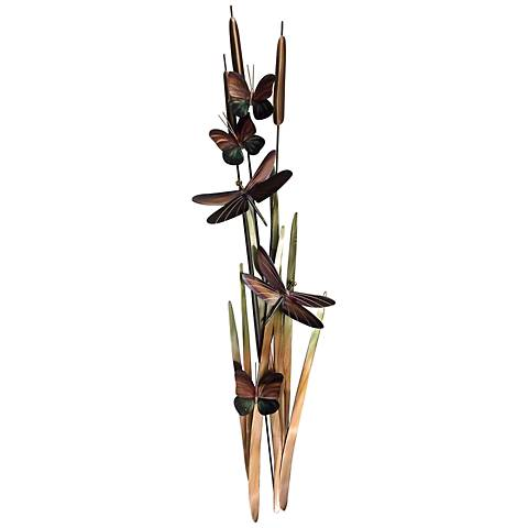 "Dragonflies and Cattails 40"" High Metal Wall Art"