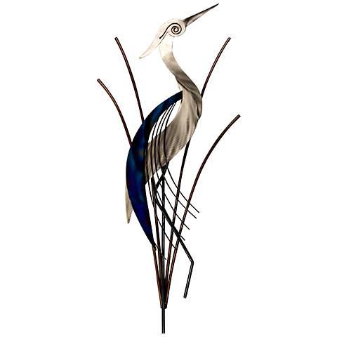 "Heron Bird With Head Raised 38"" High Metal Wall Art"