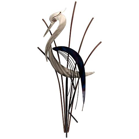 "Heron Bird With Head Lowered 38"" High Metal Wall Art"