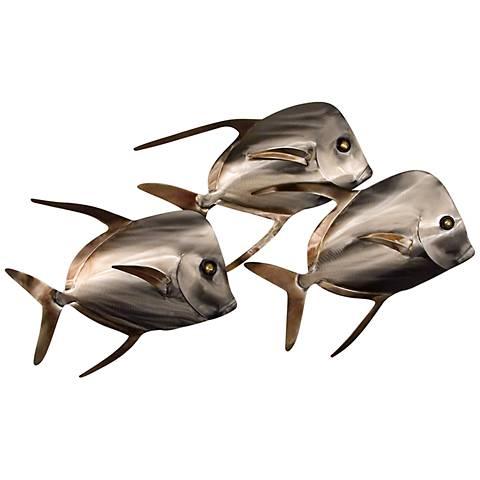 """Lockdown Fish School of Three 22 1/4"""" Wide Wall Art"""