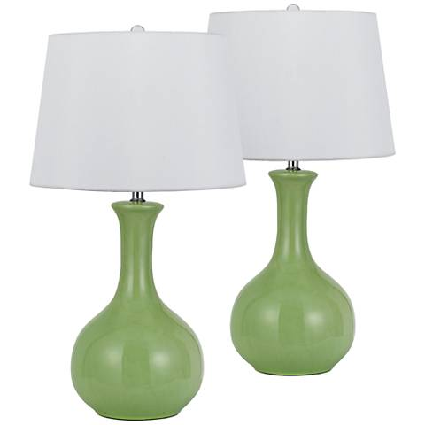 Almeria Apple Green Ceramic Table Lamp Set of 2