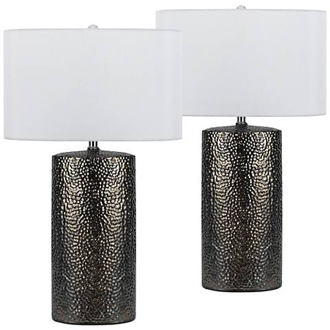 Bravo Nickel Ceramic Table Lamp Set of 2