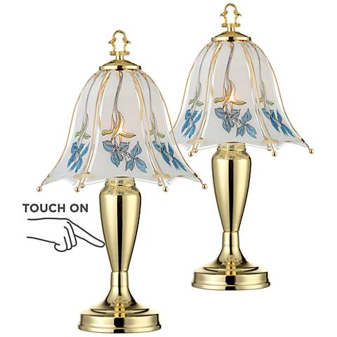 "Set of 2 Blue Flower Shade 18"" High Touch On-Off Table Lamps"