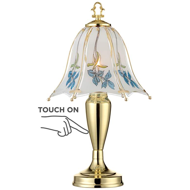 """Blue Flower Shade 18"""" High Touch On-Off Accent Table Lamp"""