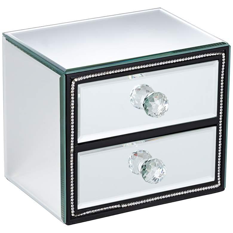 "Leeza 6 1/4"" Wide 2-Drawer Mirrored Jewelry Box"