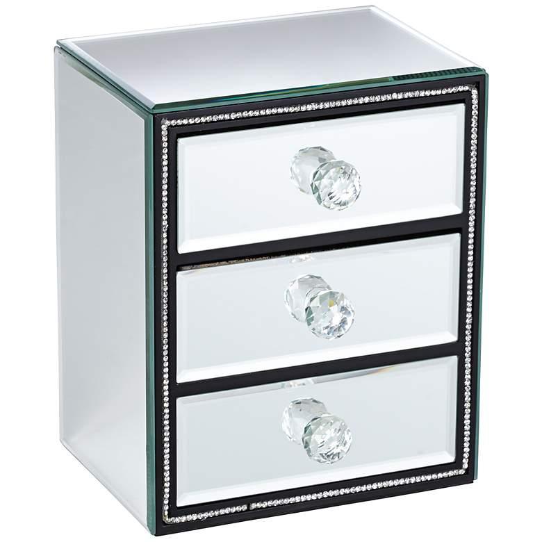 "Leeza 7 1/2"" High 3-Drawer Mirrored Jewelry Box"