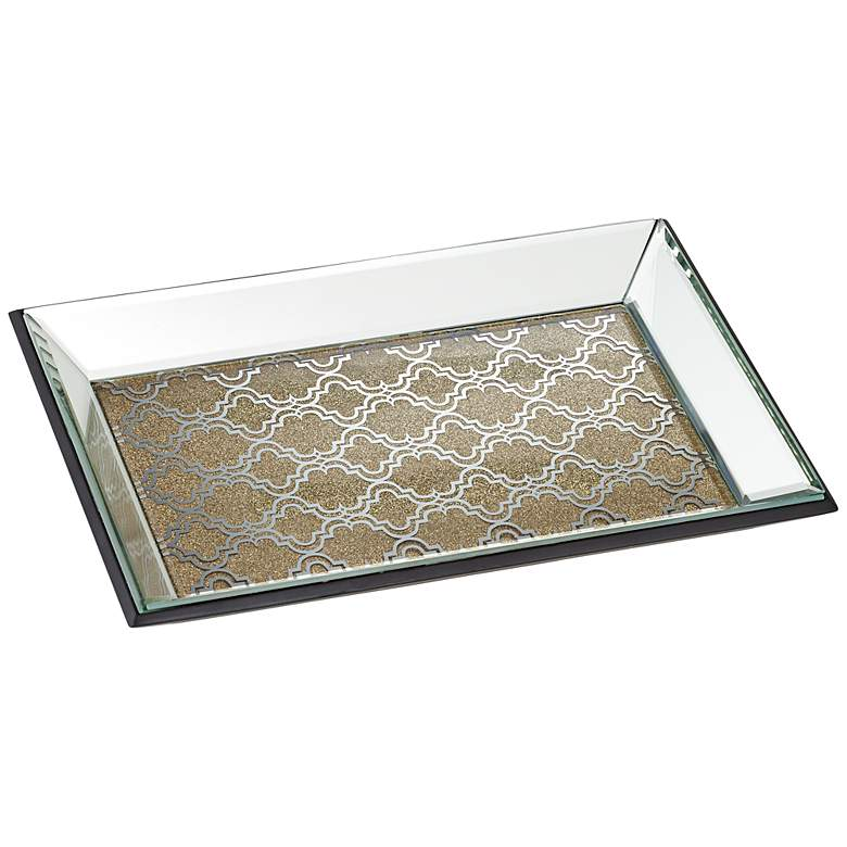 "Geometric 12"" Wide Gold Mirrored Tray"