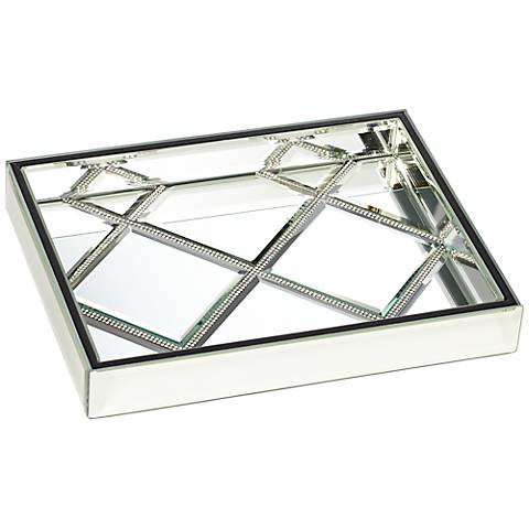 Suprema Rhinestone Square Mirrored Tray