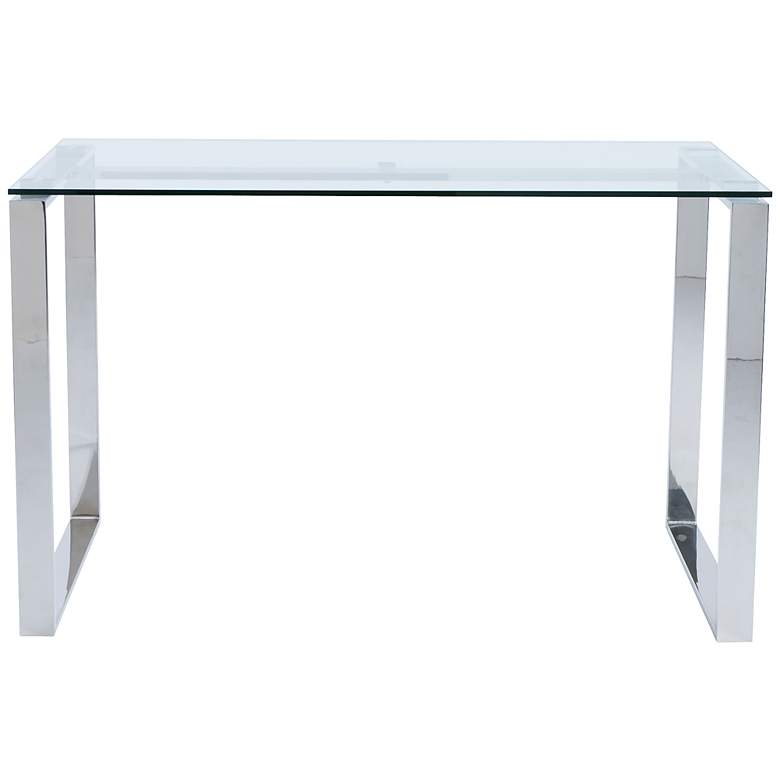 """Diego 48"""" Wide Stainless Steel and Glass Modern Desk"""