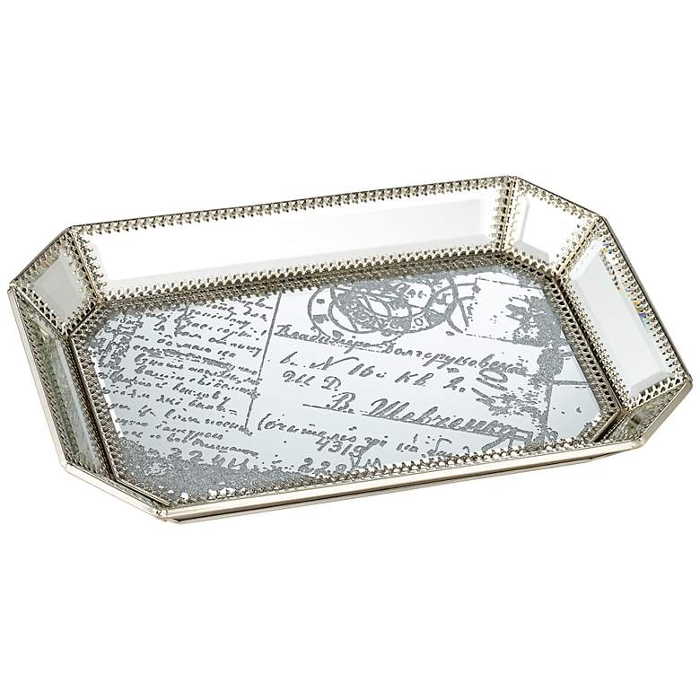 "Les Cartes 12"" Wide Vintage Silver Script Mirrored Tray"
