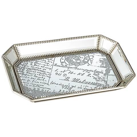 Les Cartes Vintage Silver Script Mirrored Tray
