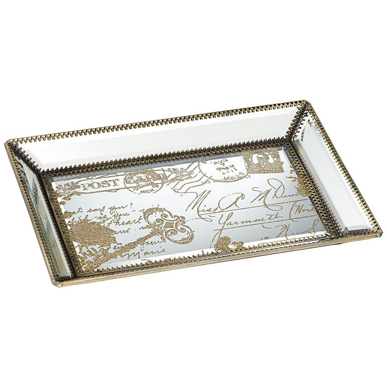 "Les Cartes 12"" Wide Vintage Gold Script Mirrored Tray"