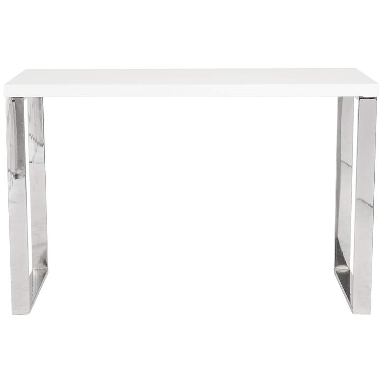 """Dillon 48"""" Wide White Lacquer Stainless Steel Modern Desk"""