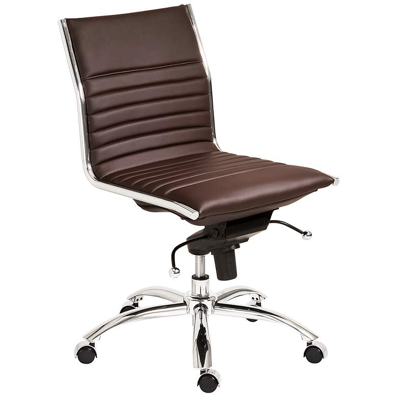 Dirk Low Back Armless Brown Office Chair