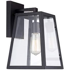 "Arrington 13"" High Glass and Mystic Black Outdoor Wall Light"