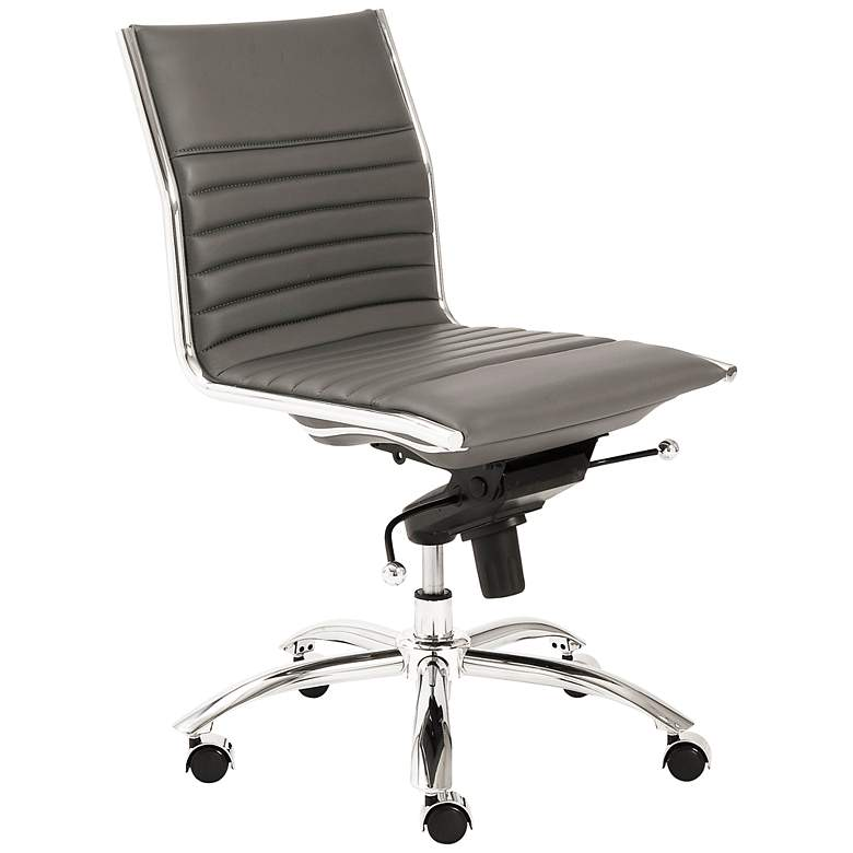 Low Back Armless Gray Office Chair