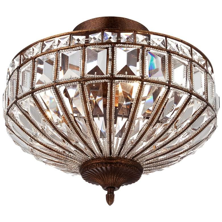 "Ibeza 15"" Wide Crystal Mocha 3-Light Ceiling Light"
